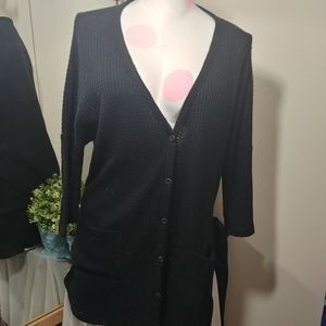 Maurices waffle knit pocket 3/4 black cardigan